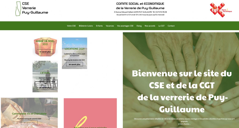 vue page accueil site CSE verrerie